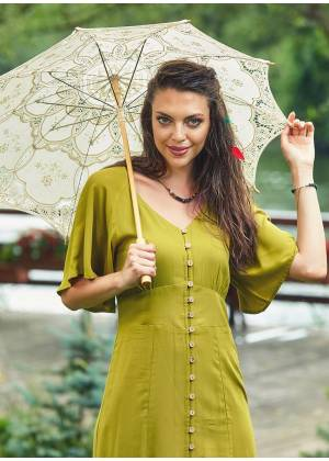 Coconut Button V Neckline Bat Sleeve Green Dress