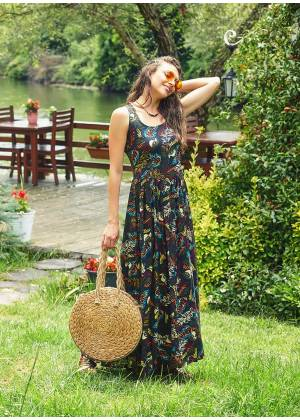 Amazon Print Bohemian Oversized Long Black Dress