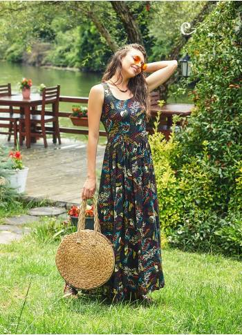Wide Strappy Cross Back Sleeveless  Wholesale Bohemian Maxi Dress