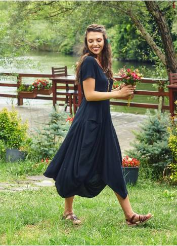 Round Neck Big Pockets Half Sleeve Black Dress
