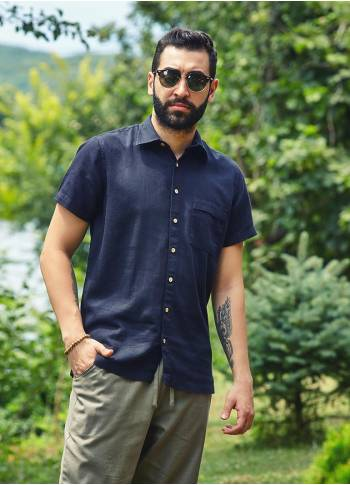 Half Sleeve Coconut Button Detail Wholesale Mens Pocket Shirt