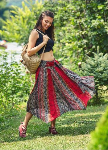 Elastic Tie Waist Asymmetrical Hem Ethnic Print Boho Midi Skirt