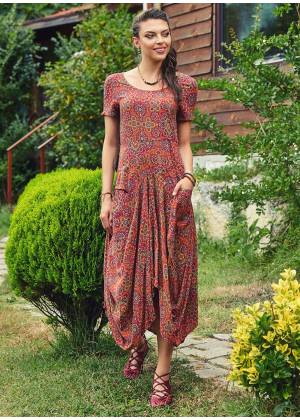 Ethnic Print Round Neck Half Sleeve Long Dress