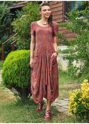 Ethnic Print Round Neck Half Sleeve Long Dress