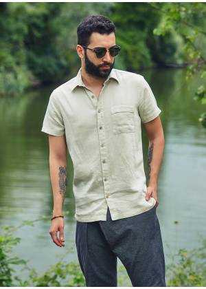 Casual Half Sleeve Pocket Detail Wholesale Button Down Mens Shirt