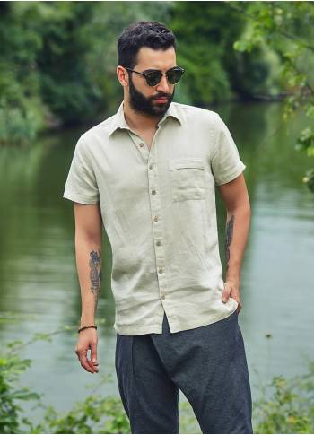 Casual Half Sleeve Pocket Detail Wholesale Button Down Mens Shirt