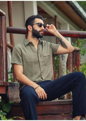 Casual Front Pocket Half Sleeve Khaki Men's Shirt