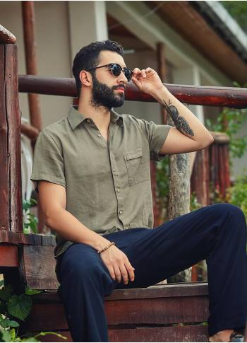 Bohemian Style Button Down Cotton Half Sleeve Mens Pocket Shirt