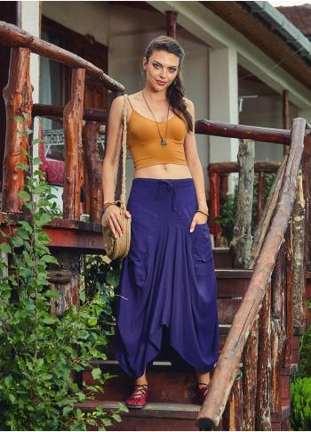 Tie Waist Pocket Detail Loose Fit Wholesale Hippie Long Skirt