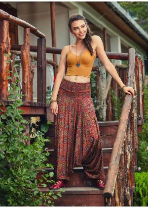 Retro Print Wide Shirred Waist Boho Style Wholesale Harem Pants
