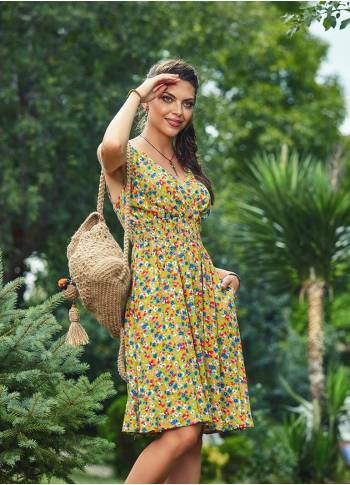 Shirred Waistband Floral Print Bohemian Strappy Summer Dress