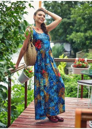 Wide Strappy Back Detail Scoop Neckline Wholesale Tropical Dress
