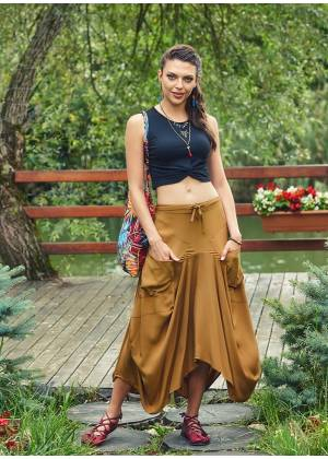 Elastic Waist Hem Detailed Loose Fit Wholesale Gypsy Long Skirt