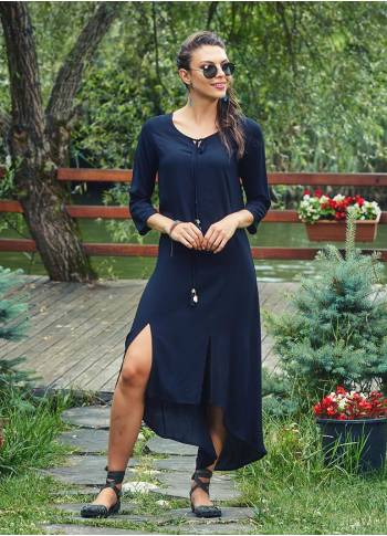 Front Slit 3/4 Sleeve Tassel Tunic Black Dress