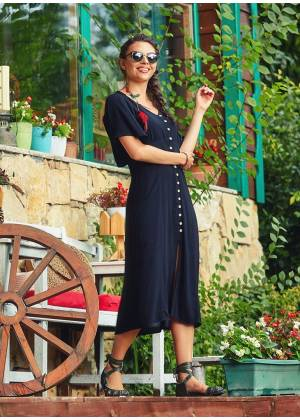 Half Bat Sleeve Bohemian Style Button Down Wholesale Black Dress
