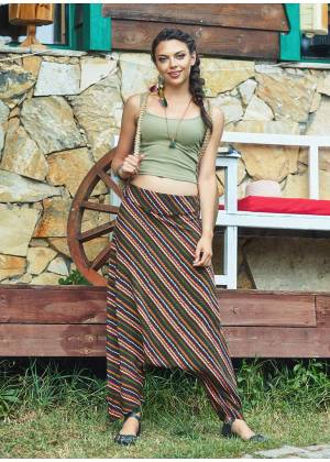Hidden Zipper Banded Waist Striped Harem Pants