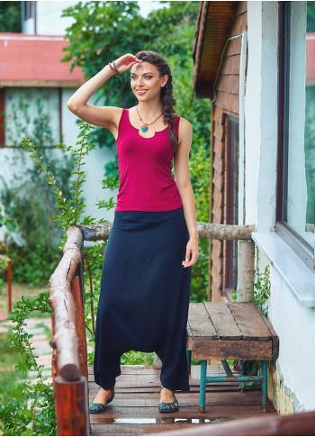 Side Zipper Closure Flat Waist Boho Wholesale Black Harem Pants