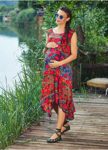 Floral Print Boat Neck Pocket Detail Bohemian Maternity Dress