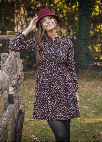 Long Sleeve Black Floral Dress