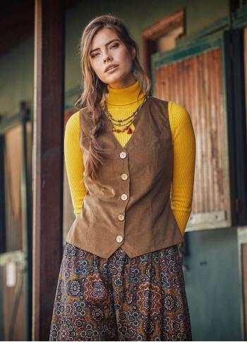 Bohemian Style Women's Beige Vest