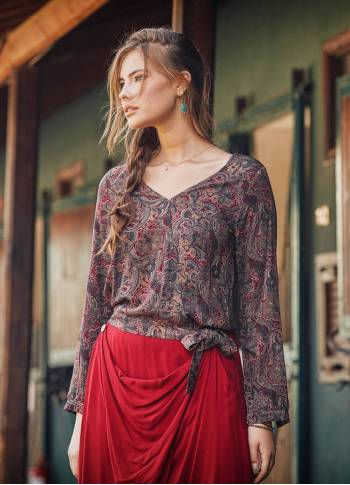 Red Patterned Paisley Boho Wrap Top