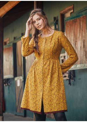 Nervure Front Laced Hem Long Sleeve Mustard Dress