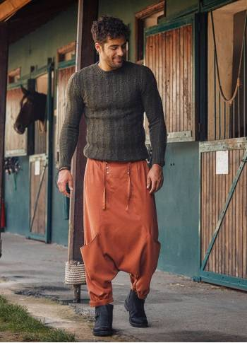 Elastic Waist Tie Front Men's Tile Harem Pants