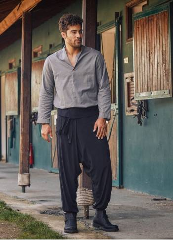 Black Thai Men's Fisherman Pants