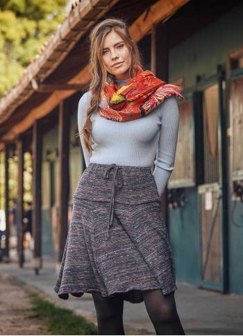 Gray Patterned Flared Winter Skirt