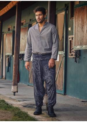 Gray Patterned Thai Men's Fisherman Pants