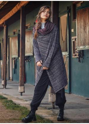 Thumb Hole Detailed Lightweight Hooded Long Cardigan