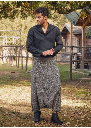Wrap Front Ethnic Print Casual Mens Harem Pants