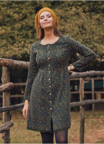Nervure Front Laced Hem Long Sleeve Green Dress