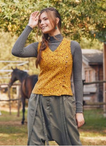 Mustard Floral Vest Blouse