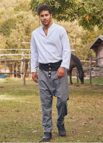 Gray Draped Cross-Front Harem Men's Pants