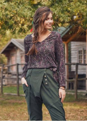 Damson Patterned Paisley Boho Wrap Top