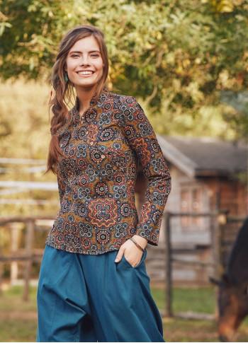 Floral Printed Mandarin Collar Brown Shirt