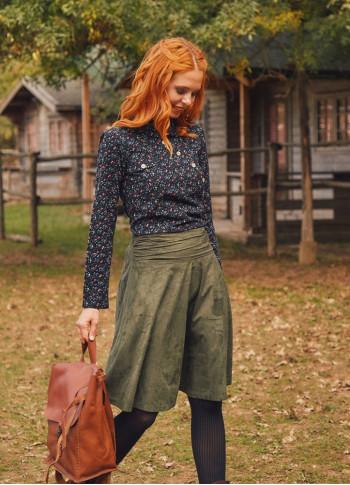 Boho Style Green Flared Skirt