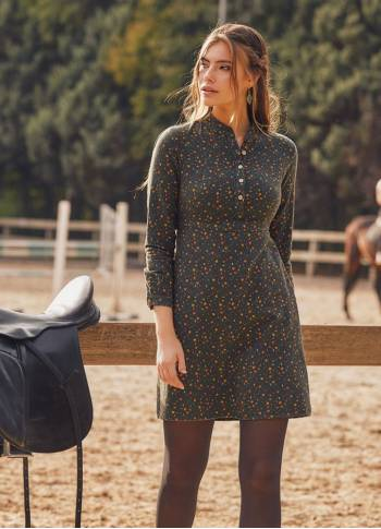 Long Sleeve Green Flowers Dress