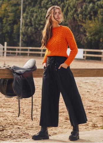 Metallic Button Closure Tie Waist Side Pockets Winter Cloth Black Wide Leg Pants