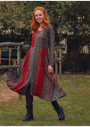 Red Ethnic Print Asymmetrical Hem Detail Bohemian Chic Long Sleeve Dress