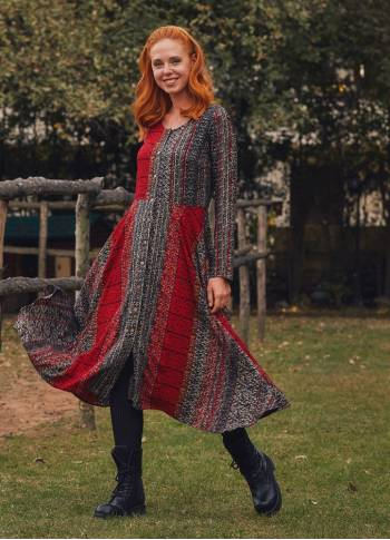 Ethnic Printed Long Sleeve Asymmetric Cut Winter Women's Dress