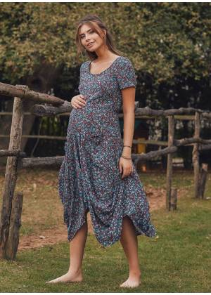 Asymmetrical Hem Half Sleeve Long Blue Floral Print Maternity Dress