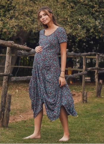 Asymetrical Hem Half Sleeve LongTurquoise Patterned Maternity Dress