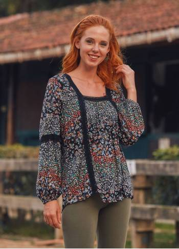 Floral Patterned Long Sleeve Boho Top