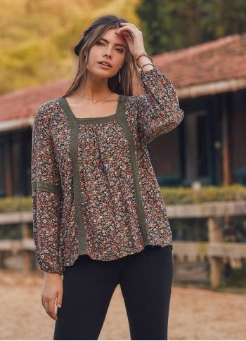 Long Sleeve Boho  Oranj Mountain Flower Top