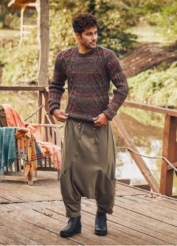 Elastic Waist Tie Front Men's Khaki Harem Pants