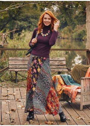 Patchwork Long Skirt