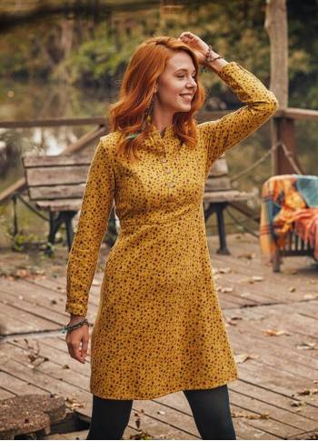 Long Sleeve Mustard Floral Dress