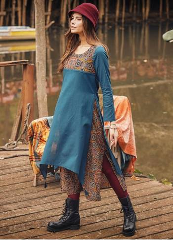 Etnic Patterned Tassel Hem Side Slits Tie Back Dress